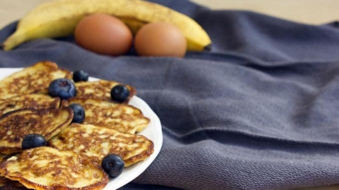 banana oat pancakes with blueberries