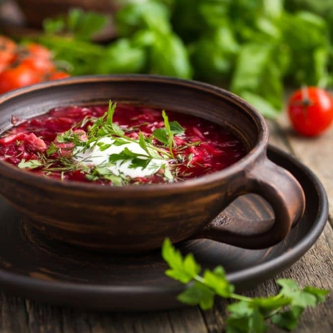 Ukrainian and Russian beetroot soup