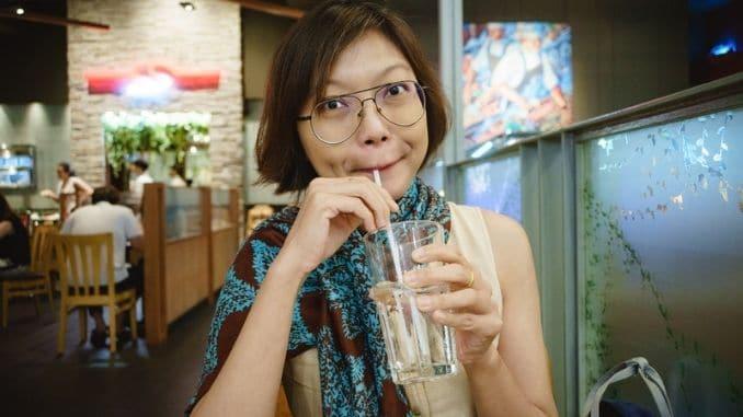 Drinking Water In Restaurant