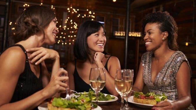 female friends eating dinner