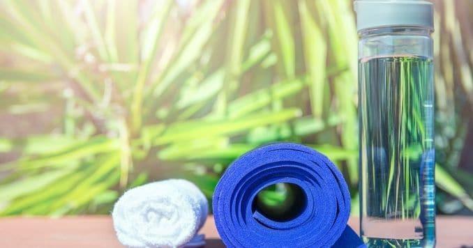 Blue Rolled Yoga Mat