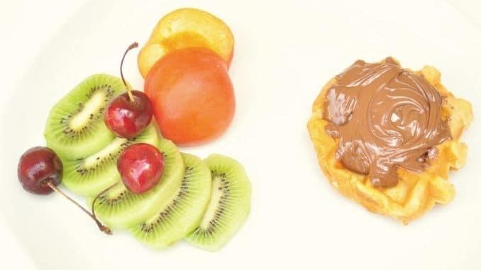 Healthy versus unhealthy morning breakfast