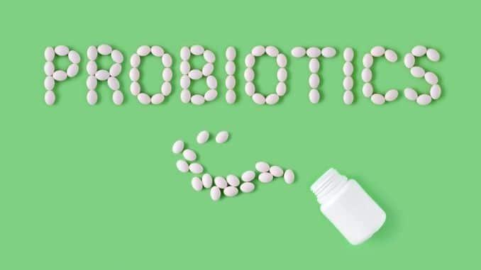 Probiotics word made of pill