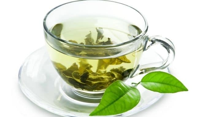 green tea and green leaves