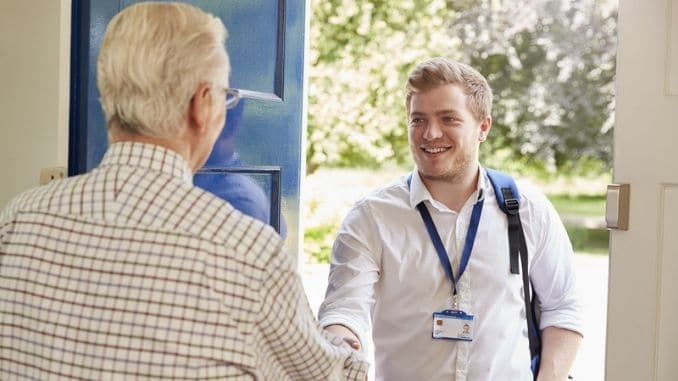 greeting male care worker