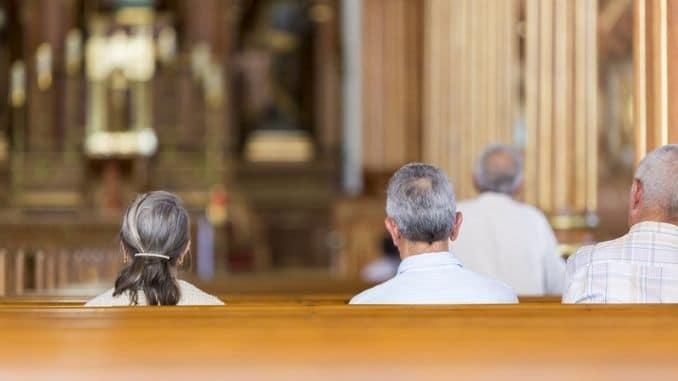 praying at the church