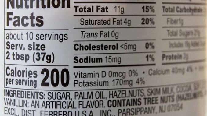 Closeup of nutrition label
